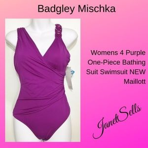 Badgley Mischka 4 Purple One-Piece Bathing Suit